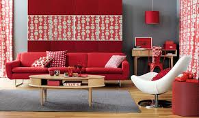 astonishing red living room with red sofa and white accent chair