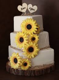 Rustic Wedding Cake Ideas With Sunflower Decorations