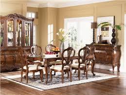 Rustic Country Style Dining Room Furniture Design With Glass Top Table And 6 Antique Chairs White Fabric Seats Plus Carpet Tiles