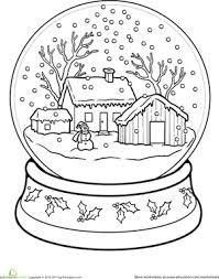 First Grade Holidays Seasons Worksheets Snow Globe Coloring Page