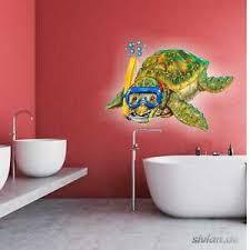 details zu lustige schildkröte badezimmer aufkleber taucherbrille kinder bad wandtattoo