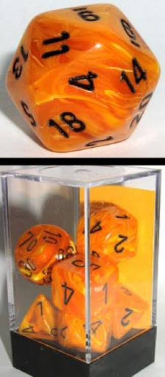 Chessex Polyhedral Vortex 7 Dice Set Orange Black