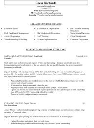 Sample Bar Manager Resume