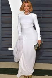 Beyonce White Vintage Hugging Mermaid Long Sleeve Formal Dress Oscars 2015