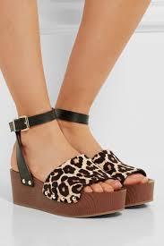 sam edelman brynn leopard print calf hair and leather wedge