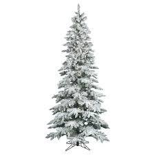75ft Pre Lit Artificial Christmas Tree Full Flocked Narrow Pine