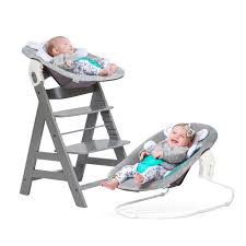 Wooden Highchair With Bouncer And Insert Cushion White Hauck ...