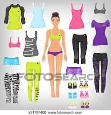 Clipart Of Vector Dress Up Paper Doll With An Assortment Sports