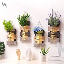 rustikale kreative hause holz wand hydrokultur pflanzen vase