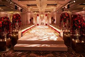 Elevated White Aisle Indoor Jewish Wedding Ceremony Red Roses