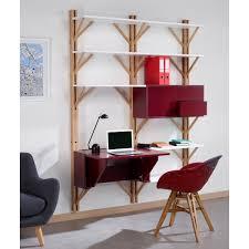 bureau bibliothèque intégré bibliothèque avec bureau intégré beige de la marque cosy korner à