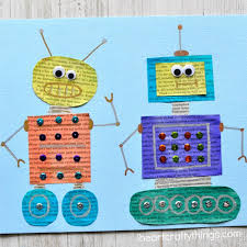 Could Easily Be My New Favorite Newspaper Craft Kids Will Love Cutting Out Shapes And Getting Creative Making Colorful Robots