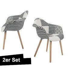 patchwork stuhl schwarz weiß 2er set schalenstuhl lehne