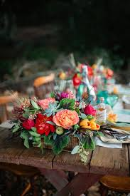 Colorful Rustic Bohemian Romance Flower Wedding Centerpiece Photo By Swoonbykatie