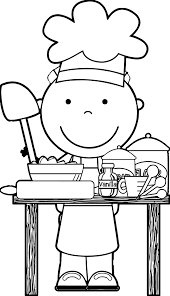 a cook black and white clipart 7