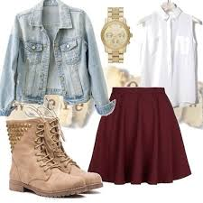 Jacket Jeans Denim Light Pastel Girly Cute Pretty Outfit Idea Ideas Skirt Shoes Boots