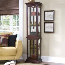 Pulaski Corner Curio Cabinet by Corner Curio Cabinet Tall Mirror Lighted Glass Wood Display Trophy