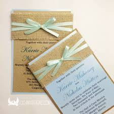 Rustic Sackcloth Wedding Invitation With Chic Ribbon Bow And Pearl Decoration