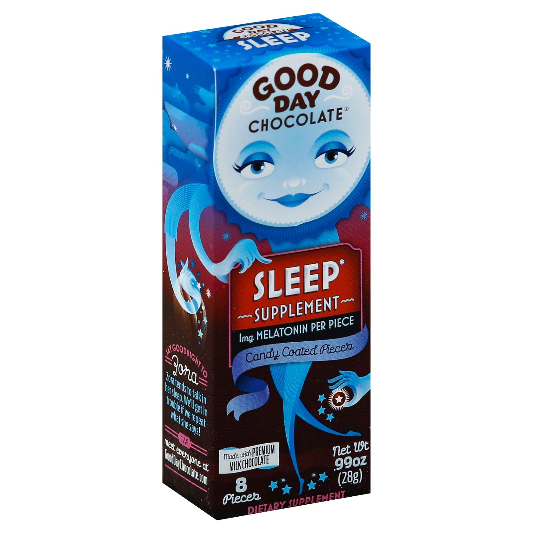 Good Day Chocolate Candy Coated Melatonin - Sleep, 8ct