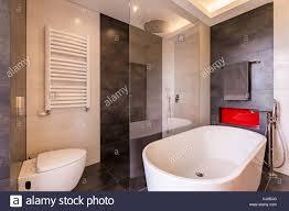 badezimmer mit modernen fliesen badewanne dusche und wc