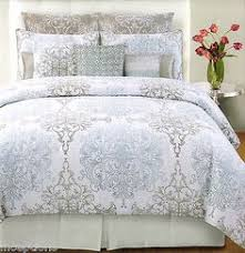 Tahari Bedding Collection by Tahari Home 3pc Duvet Cover Set Paisley Medallion Silver Grey