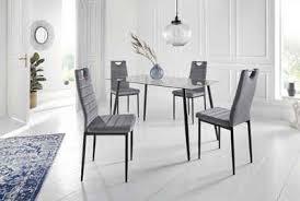 my home essgruppe danny mandy set 5 tlg glastisch breite 140 cm und 4 esszimmerstühlen bezug aus samtstoff