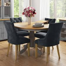 Round Extendable Dining Table With 4 Velvet Chairs In Grey & Oak Finish -  Rhode Island & Kaylee Cm3556 Round Top Solid Wood With Mirror Ding Table Set Espresso Homy Living Merced Natural Wood Finish 5 Piece East West Fniture Antique Pedestal Plainville Microfiber Seat Chairs Charrell Homey Design Hd8089 5pc Brnan Single Barzini And Black Leatherette Chair Coaster 105061 Circular Room At Hotel Hershey Herbaugesacorg Brera Round Ding Table Nottingham Rustic Solid Paula Deen Home W 4 Splat Back Modern And Cozy Elegant Sets