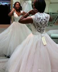 African Wedding Gowns 2017 y Deep V Neck Corset Ball Gown Wedding
