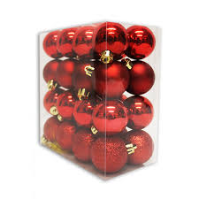 40MM X 32PC BAUBLES RED Tree Decorations