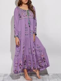 maxi dresses purple l scoop neck embroidered swing bohemian maxi