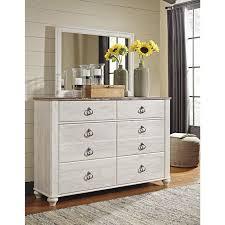 6 Drawer Dresser With Mirror by Willowton 6 Drawer Dresser And Mirror In Whitewash Nebraska
