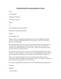 Sample Of Recommendation Letter For Scholarship Letter Of