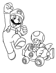 Toad And Mario Kart Coloring Pages
