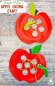 This Paper Plate Apple Lacing Craft Is Adorable With The Cutest Worm For Kids To Thread