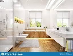 weißes luxusbadezimmer im modernen haus stockbild bild