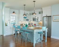 Turquoise Kitchen Decor With Island Table