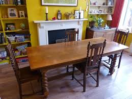 Beautiful Solid Oak Refrectory Table 86cm Wide X 211cm Long 77cm High With Four Matching Chairs Barley Twist Legs Lovely Carving