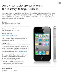 Reminder Pick up your reserved iPhone 4 on June 24