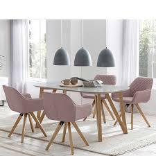 esszimmer sitzgruppe in grau und altrosa skandi design 5 teilig