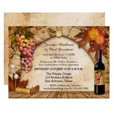 Post Wedding Or Reception Only Invitation Featuring A Wine Bottle Grapes And Cork On