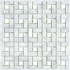 shop anatolia tile carrara pinwheel basketweave mosaic marble wall