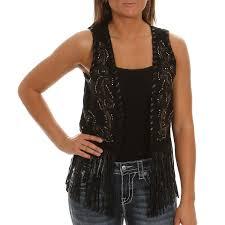 miss me women u0027 u0027s embroidered fringe black vests