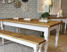 Creative Rustic Dining Room Decoration With White False Brick Wall And Clock Plus Custom Farmhouse Table Wooden Base Bench Seat Ideas