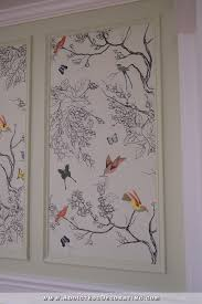 Hand Drawn Bird And Butterfly Wall Mural In Entryway