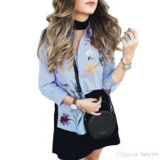 2018 Flower Embroidery Blouses Women Fashion Trends Collar Long Sleeve Shirt Casual Striped Cotton And Tops 2017 New From Kelly316