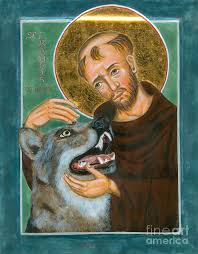 st francis and the wolf of gubbio painting by juliet