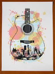 Minneapolis Guitar Screen Print Poster 2500 Via Etsy