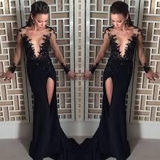 black long prom dresses 2016 neck appliques lace prom