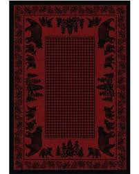 Altmarkdesign Bear Family Red Black Buffalo Check Country Cabin Rustic Lodge Nylon Area Rug