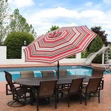 9 Ft Patio Umbrella With Crank by Sunnydaze Striped Aluminum Patio Umbrella U2013 9 U0027
